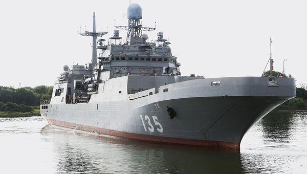 Большой десантный корабль Иван Грен в море на ходовых испытаниях