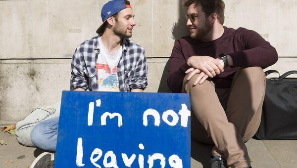 Молодые люди с плакатом у здания парламента в Лондоне после референдума по сохранению членства Великобритании в Европейском Союзе. Архивное фото