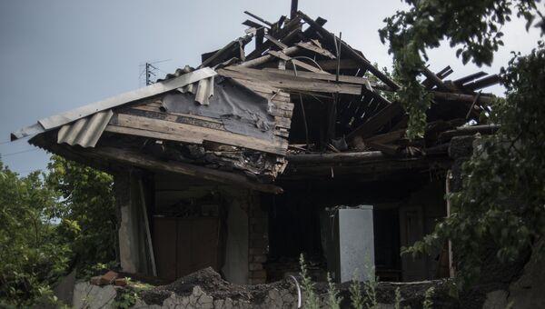 Один из домов в Горловке, разрушенный в результате обстрела