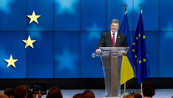 Президент Украины Петр Порошенко на пресс-конференции в Брюсселе. Архивное фото