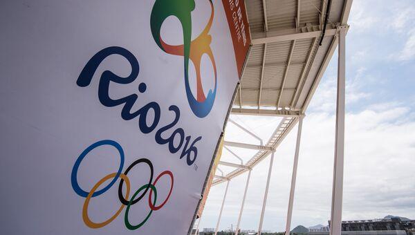 Логотип Олимпийских игр в Олимпийском парке Рио-де-Жанейро