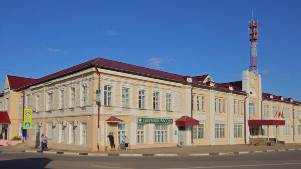 Площадь Карла Маркса в городе Талдом, Московская область, Россия. Архивное фото