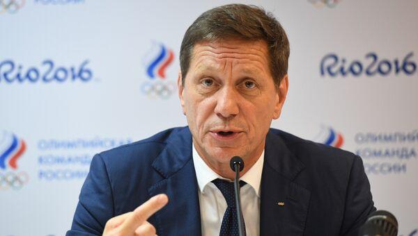 Президент Олимпийского комитета России Александр Жуков во время пресс-конференции в Рио-де-Жанейро
