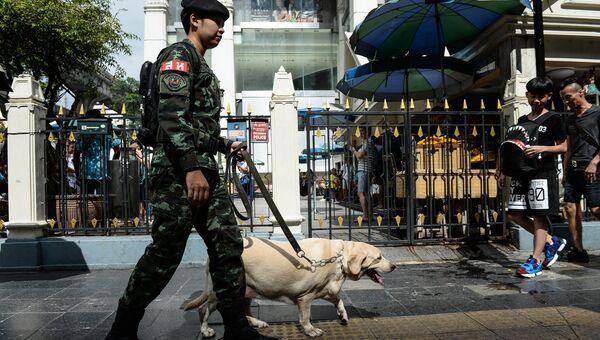 Тайский солдат с собакой в Бангкоке. Архивное фото
