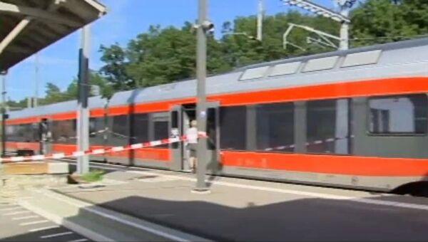 Кадры с места нападения на пассажиров поезда в Швейцарии