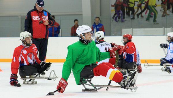 Тренировка команды по следж-хоккею