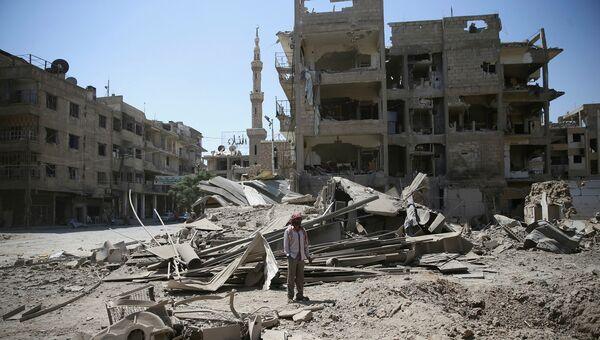 Последствия обстрелов города Дума в окрестностях Дамаска. 22 августа 2016