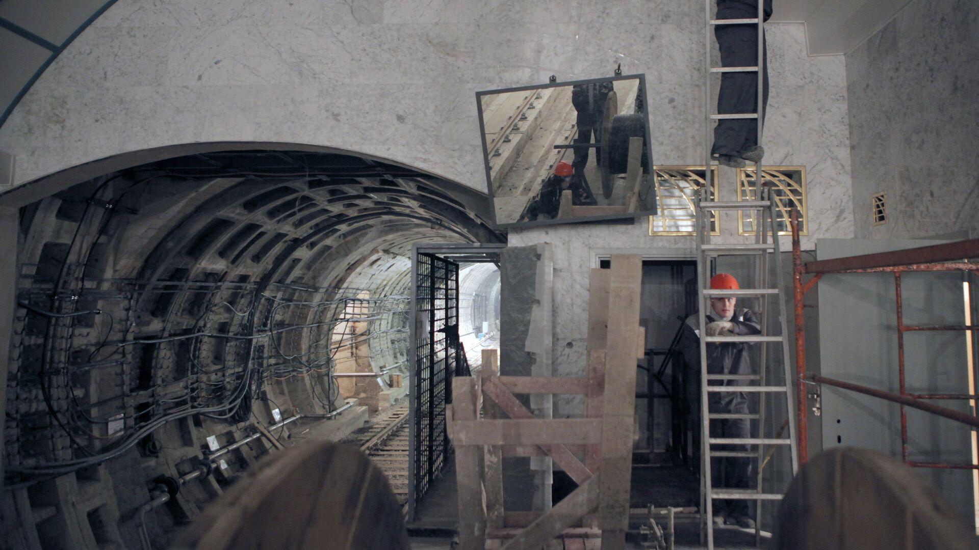 Заключительные работы по строительству станции метро Международная в Санкт-Петербурге - РИА Новости, 1920, 05.08.2021