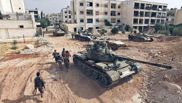 Обстановка в районе артиллерийского училища на юго-западе Алеппо. Архивное фото