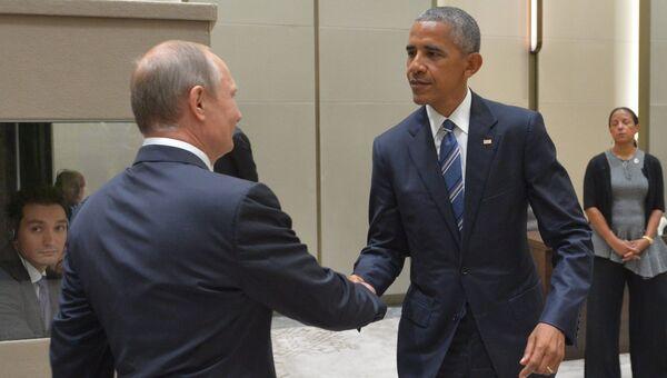 Президент РФ Владимир Путин и президент США Барак Обама во время встречи с в Ханчжоу. 5 сентября 2016