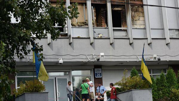 Здание украинского телеканала Интер в Киеве, где 4 сентября 2016 произошел пожар