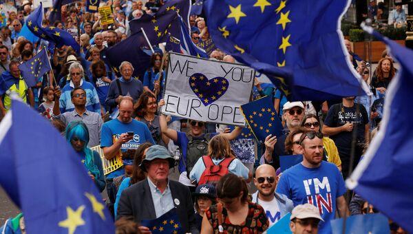Акция протеста против результатов Brexit в Великобритании
