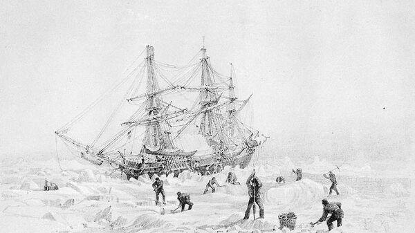 HMS Terror, зажатый льдами, рисунок капитана Бэка