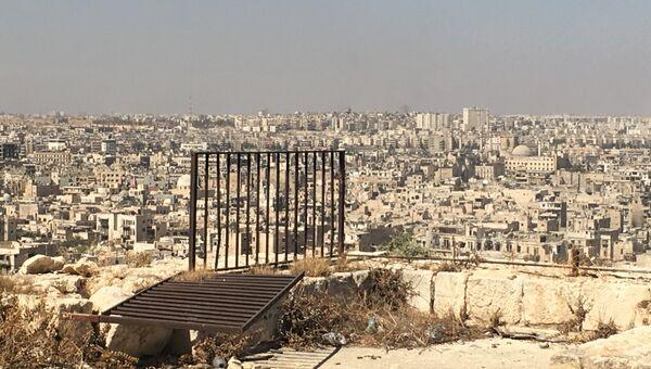 Захваченные боевиками восточные кварталы Алеппо. Вид из Цитадели в старом городе. Архивное фото