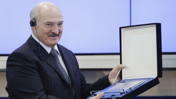 Президент Белоруссии Александр Лукашенко на генеральной ассамблее Европейских олимпийских комитетов, которая приняла решение о проведении вторых Европейских игр 2019 года в Минске