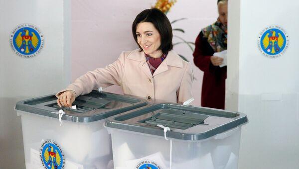 Кандидат в президенты Майя Санду на выборах в Кишиневе