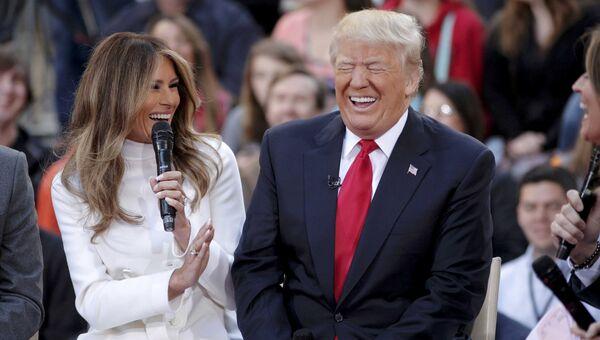 Меланья Трамп и ее муж Дональд Трамп во время шоу NBC Today. Архивное фото
