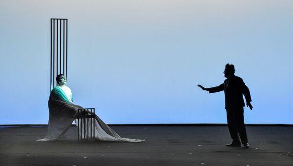 Сцена из спектакля Роберта Уилсона Носороги