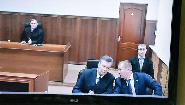 Допрос Виктора Януковича в режиме видеоконференции в качестве свидетеля по делу о беспорядках в Киеве в феврале 2014 года. Архивное фото