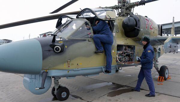 Новый ударный вертолет Ка-52 Аллигатор после торжественной передачи личному составу вертолетного полка ЮВО в Краснодарском крае в рамках планового переоснащения