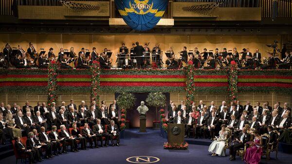 Церемония вручения Нобелевской премии в Стокгольме. Архивное фото