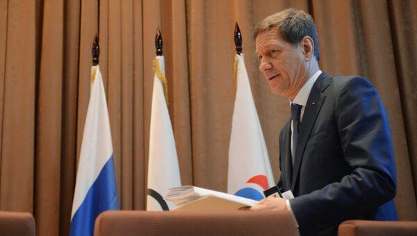 Президент Олимпийского комитета России (ОКР) Александр Жуков на ежегодном Олимпийском собрании. 8 декабря 2016
