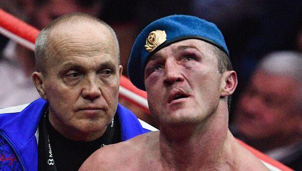 Денис Лебедев после боя за звание чемпиона мира по боксу по версии IBF против Мурата Гассиева