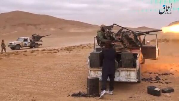 Боевики террористической группировки Исламское государство (ИГ, запрещена в России) в районе Пальмиры. Архивное фото