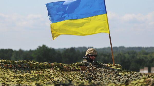Украинский военный на учениях во Львовской области