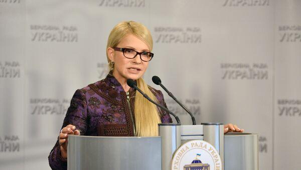 Лидер фракции ВО Батькивщина Юлия Тимошенко на заседании Верховной рады Украины в Киеве