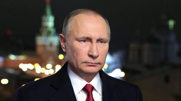 Президент Российской Федерации Владимир Путин во время новогоднего обращения к россиянам