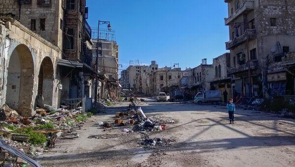 Мальчик на улице в районе Аль Назирия в сирийском Аллепо. Архивное фото