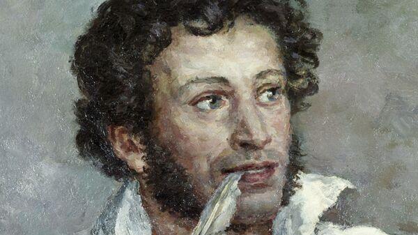 Фрагмент картины Александр Сергеевич Пушкин работы художника Петра Кончаловского