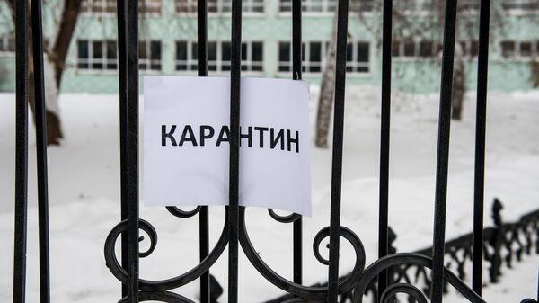 Объявление о карантине на воротах одной из школ. Архивное фото