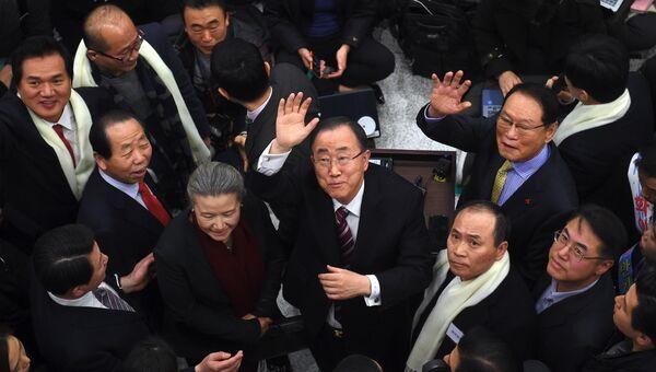 Бывший генеральный секретарь ООН Пан Ги Мун в аэропорту Сеула, Южная Корея