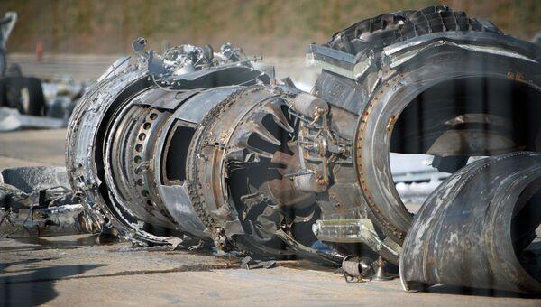 Обломки, упавшего у берегов Сочи самолета Минобороны РФ Ту-154, собранные на территории сочинского аэропорта. Архивное фото