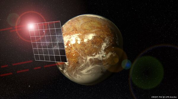 Так художник представил себе солнечный парус, облетающий систему Альфы Центавра