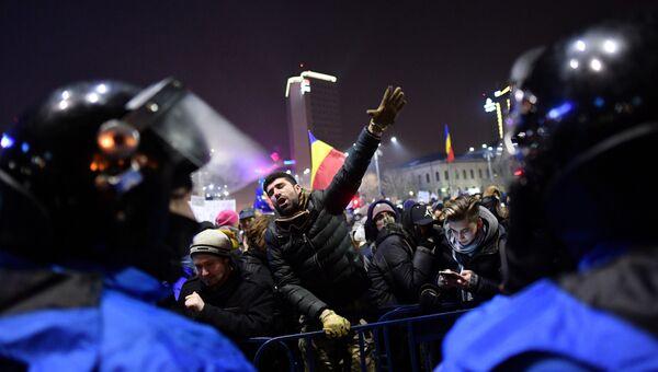 Акции протеста в Румынии, 1 февраля 2017. Архивное фото