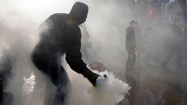 Митинг в центре Киева в поддержку торговой блокады Донбасса