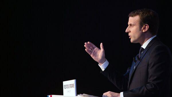 Кандидат в президенты Франции Эммануэль Макрон во время представления своей предвыборной программы в Париже