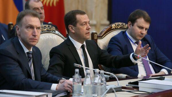 Дмитрий Медведев на заседании Евразийского межправительственного совета в Бишкеке. 7 марта 2017
