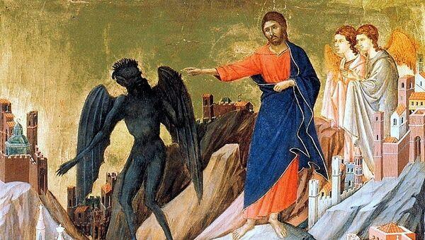 Картина Дуччо ди Буонинсенья Искушение Христа