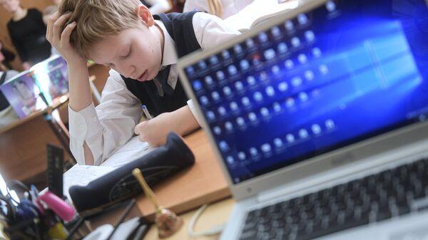 Ученик на уроке в школе. Архивное фото