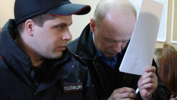 Предприниматель Владимир Бельский, подозреваемый в умышленном наезде на ребенка, в Приозерском городском суде. 16 марта 2017