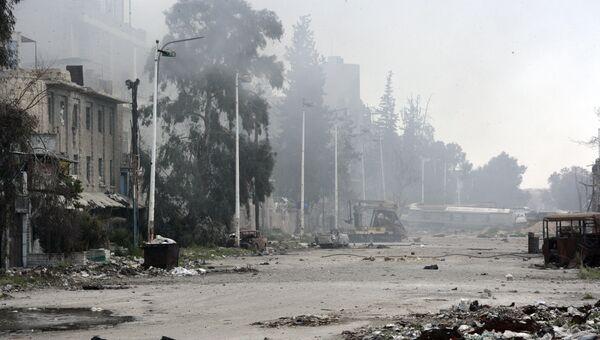 Последствия столкновений сирийской армии с боевиками в районе Джобар. Архивное фото