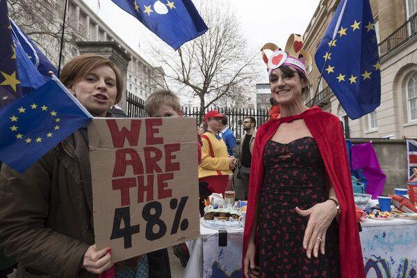 Противники выхода Великобритании из Европейского Союза на улице Лондона