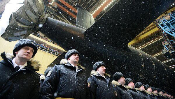 Торжественная церемония спуска на воду атомного подводного крейсера Казань ВМФ России в Северодвинске