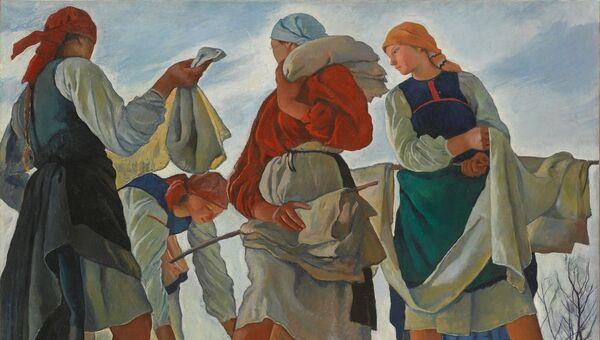 Зинаида Серебрякова Беление холста. 1917. Третьяковская галерея