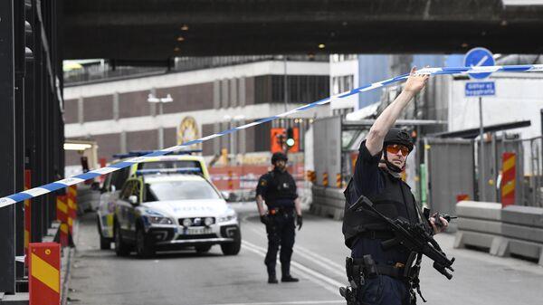 Полицейские в центре Стокгольма