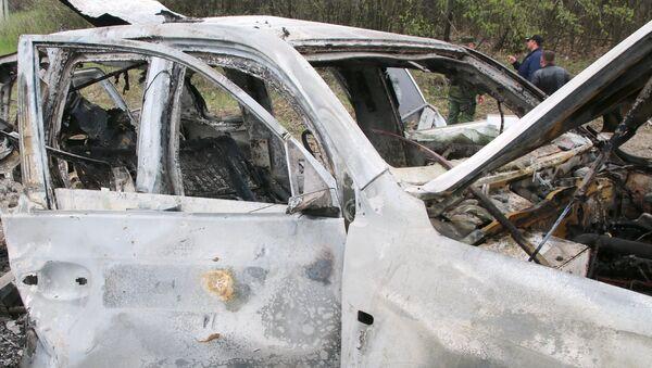 Место подрыва автомобиля сотрудников патруля Специальной мониторинговой миссии ОБСЕ на Украине в районе населенного пункта Пришиб в Луганской области. Архивное фото